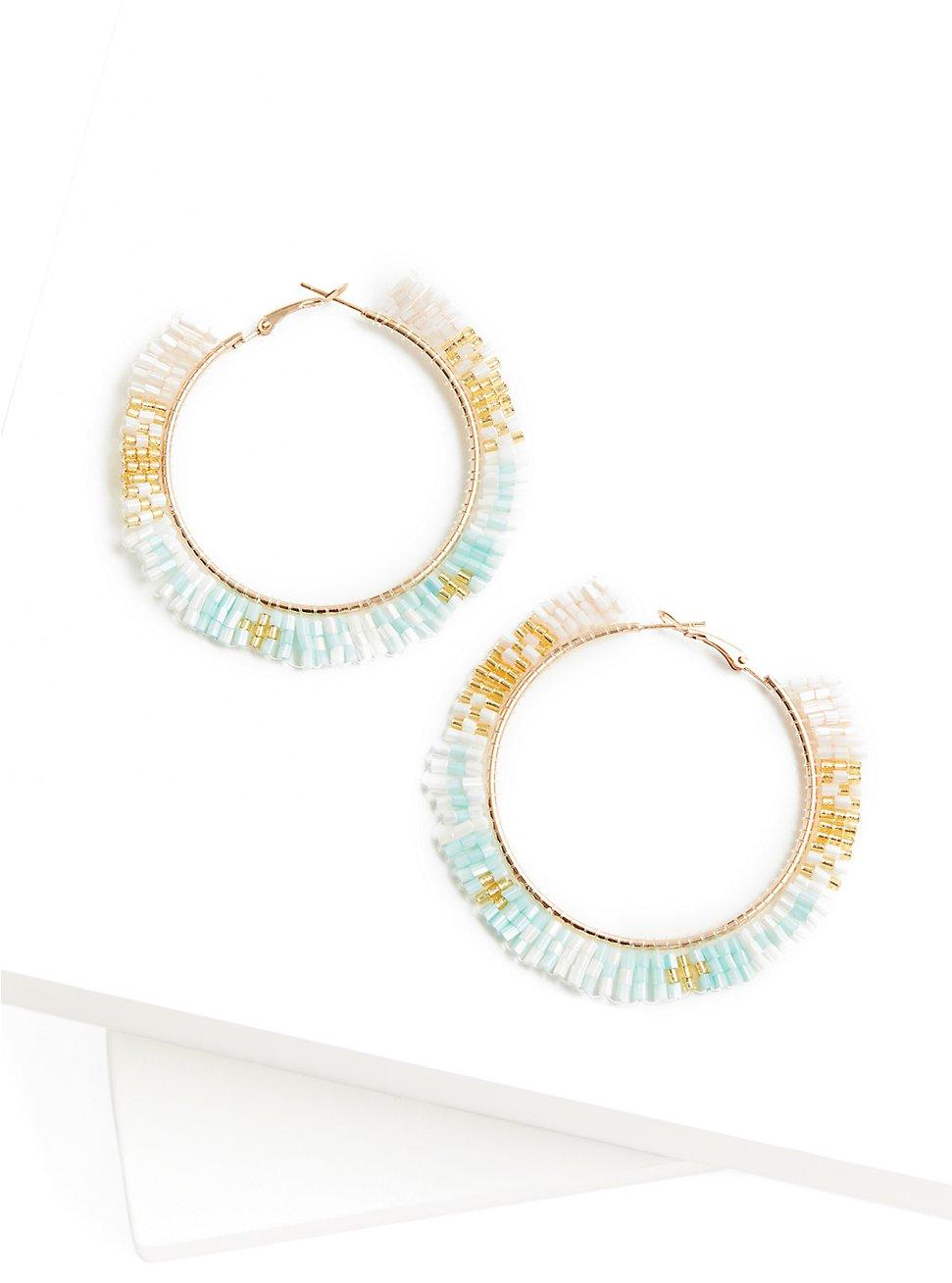 Plus Size Multi Beaded Hoop Earrings, , hi-res
