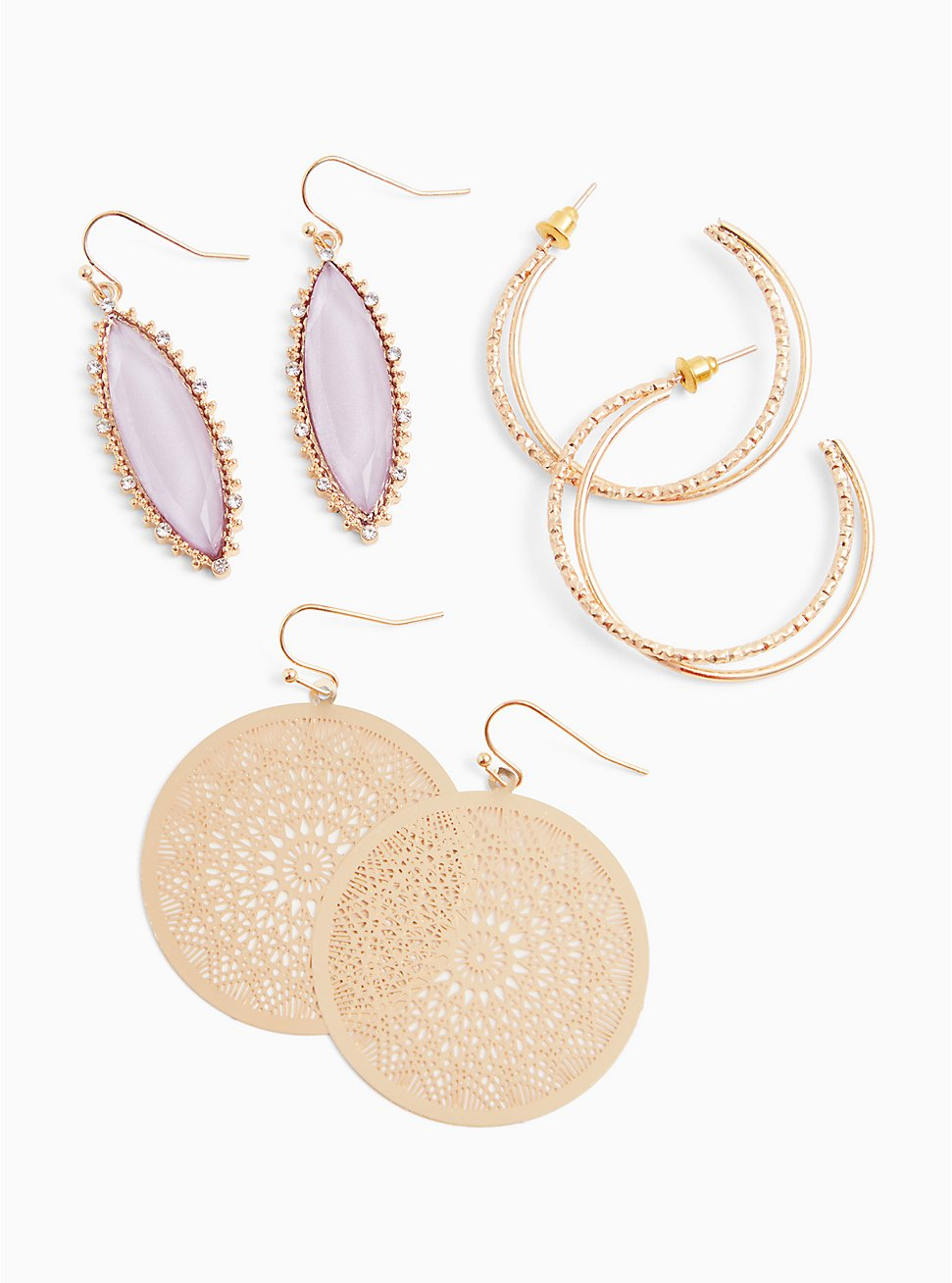 Gold-Tone & Lilac Purple Drop Earrings Set - Set of 3, , hi-res