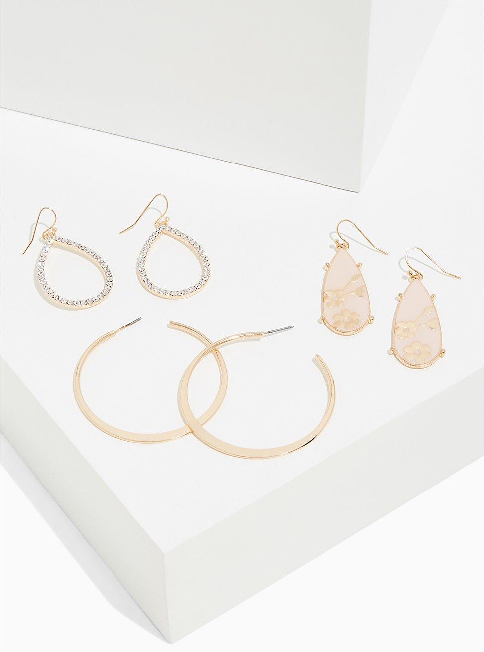 Light Pink Floral Drop Earrings Set - Set of 3, , hi-res