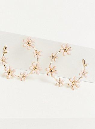 Gold-Tone & Blush Floral Hoop Earrings, , alternate