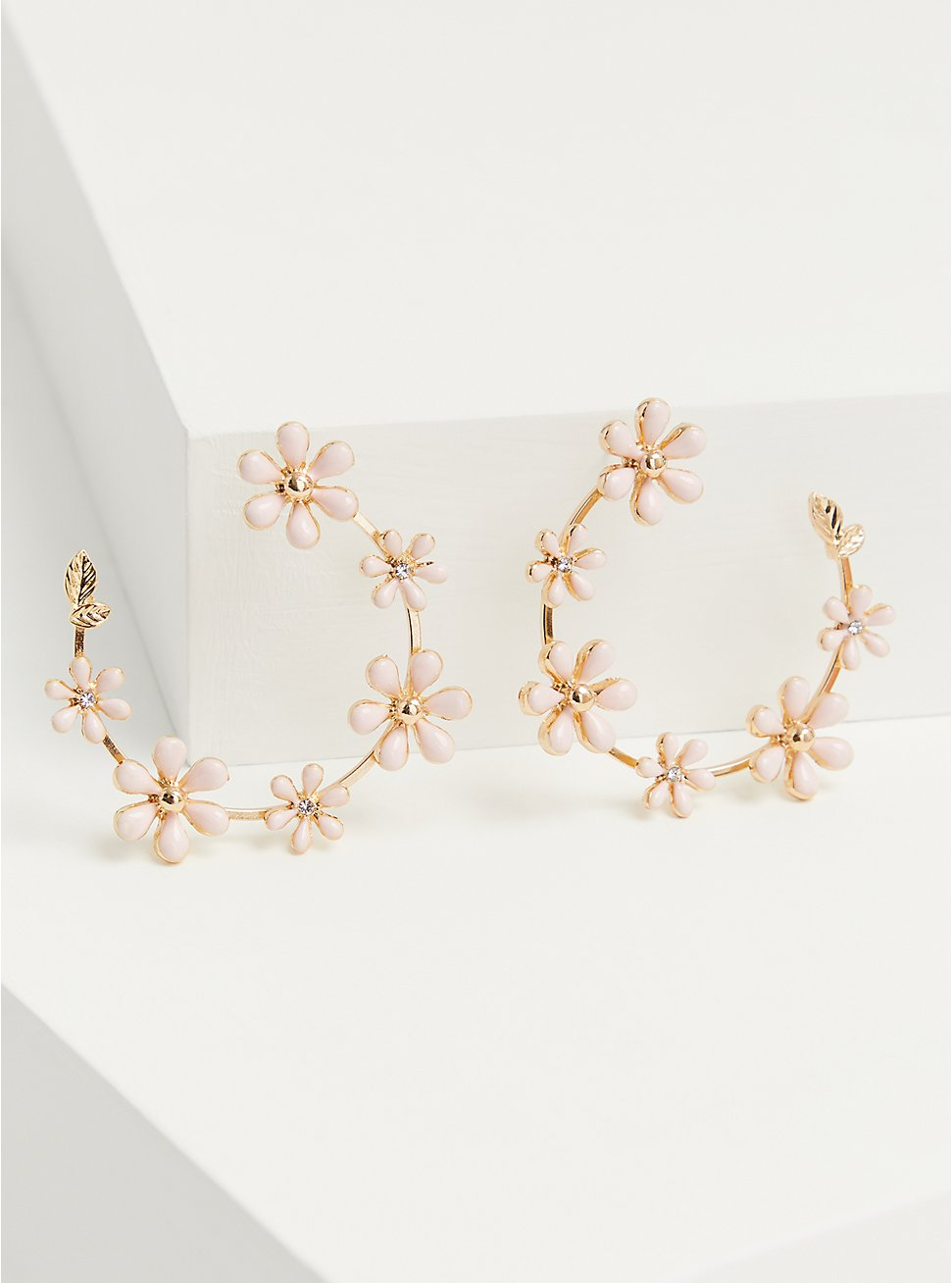 Plus Size Gold-Tone & Blush Floral Hoop Earrings, , hi-res