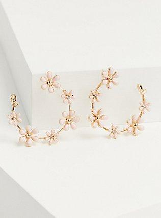 Gold-Tone & Blush Floral Hoop Earrings, , hi-res