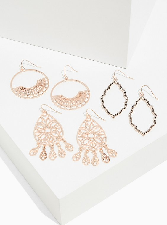 Plus Size Rose-Gold Tone Filigree Earrings Set - Set of 3, , hi-res