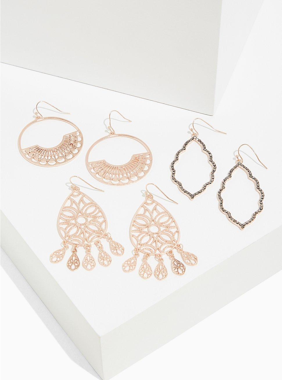 Rose-Gold Tone Filigree Earrings Set - Set of 3, , hi-res