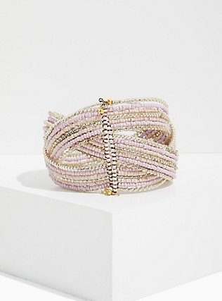 Silver-Tone Beaded Crisscross Cuff, BLUSH, alternate