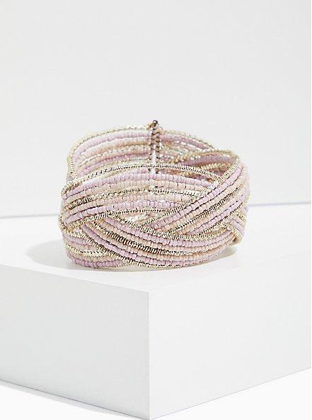Plus Size Silver-Tone Beaded Crisscross Cuff, BLUSH, hi-res
