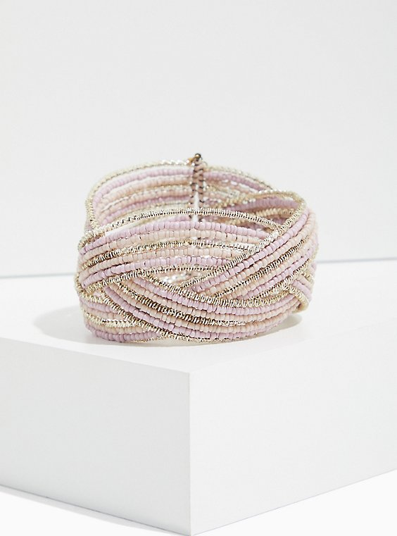 Silver-Tone Beaded Crisscross Cuff, BLUSH, hi-res