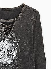 Marvel Black Panther Charcoal Mineral Wash Jersey Lattice Top, MEDIUM HEATHER GREY, alternate