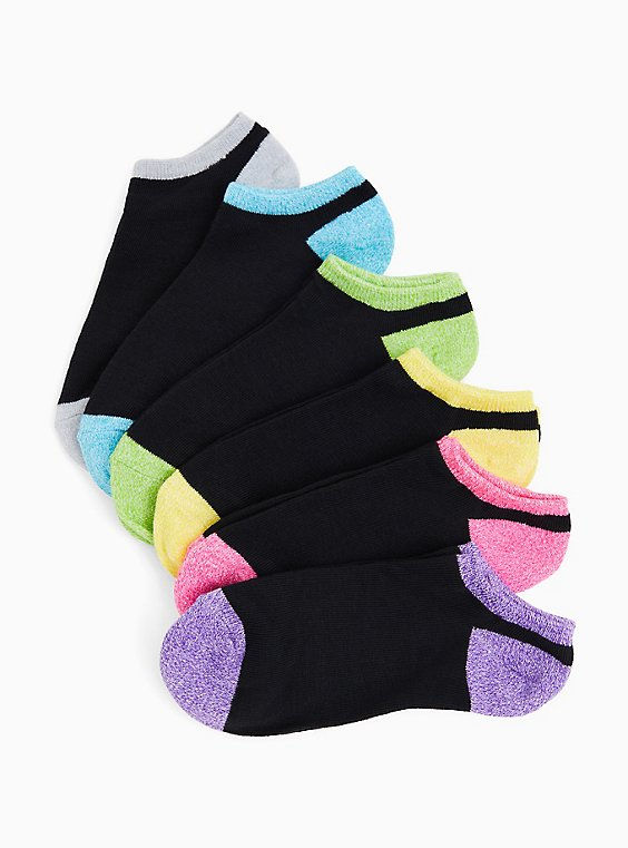 Black & Color Toe Ankle Socks Pack - Pack of 6, , hi-res