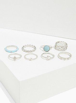 Silver-Tone & Aqua Faux Stone Ring Set - Set of 8, MINT, alternate
