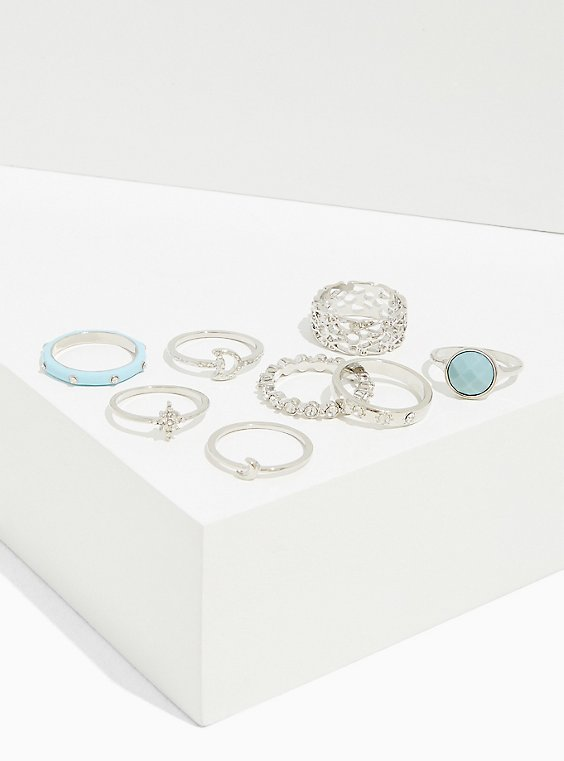 Silver-Tone & Aqua Faux Stone Ring Set - Set of 8, , hi-res