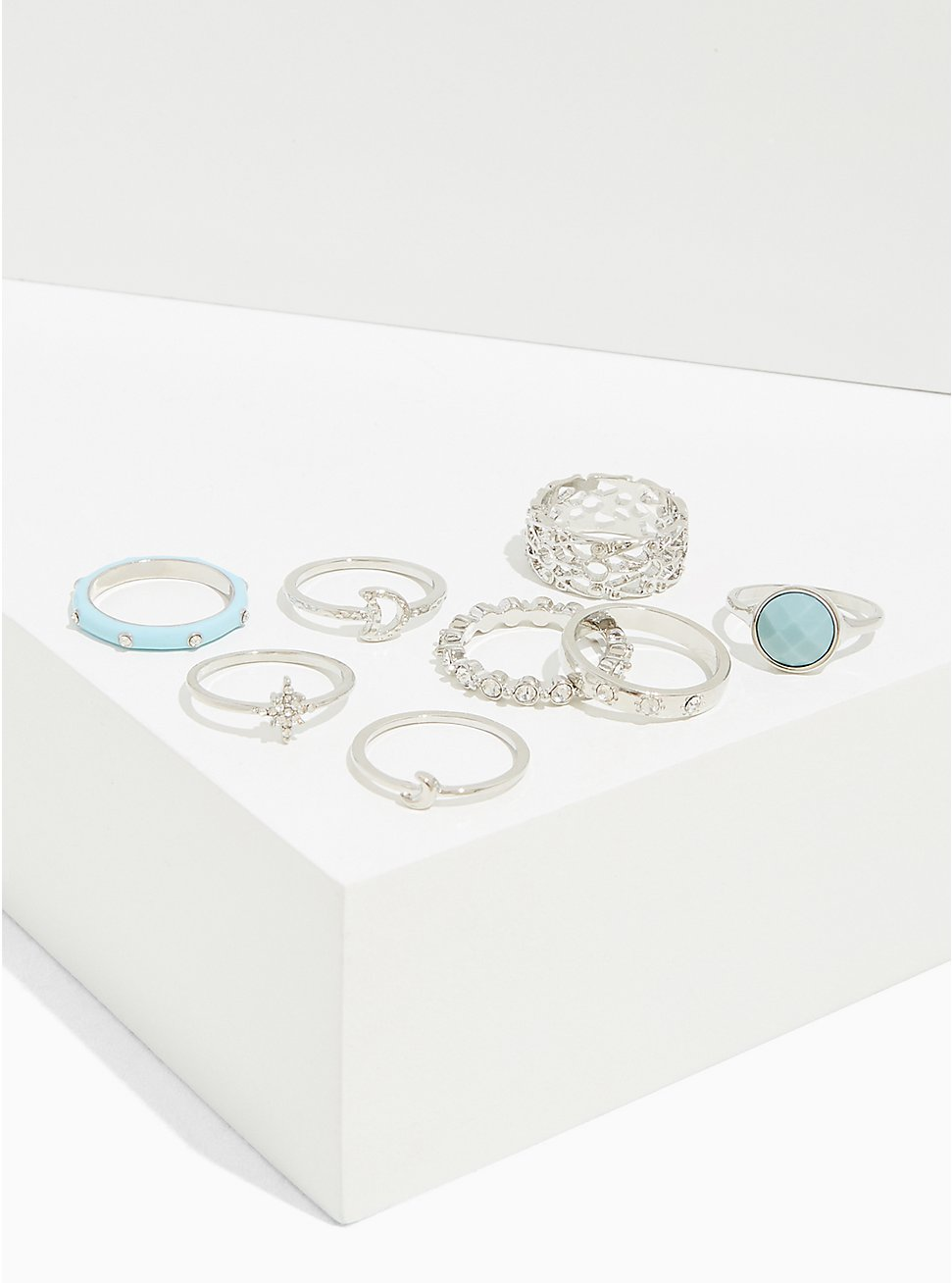 Silver-Tone & Aqua Faux Stone Ring Set - Set of 8, MINT, hi-res