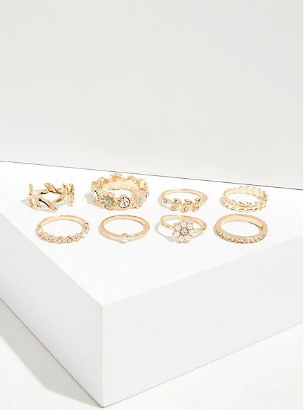 Gold-Tone Floral Ring Set - Set of 8, MULTI, alternate