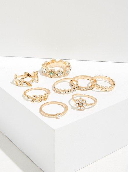 Gold-Tone Floral Ring Set - Set of 8, MULTI, hi-res