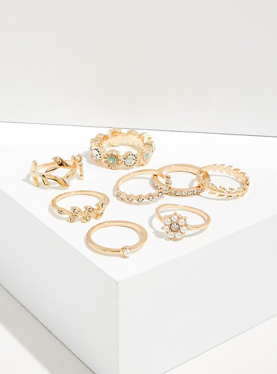 Plus Size Gold-Tone Floral Ring Set - Set of 8, , hi-res
