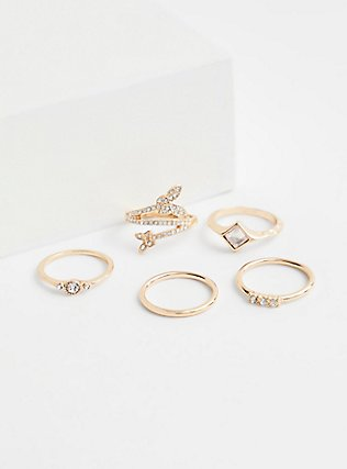 Gold-Tone Butterfly Ring Set - Set of 5, GOLD, alternate