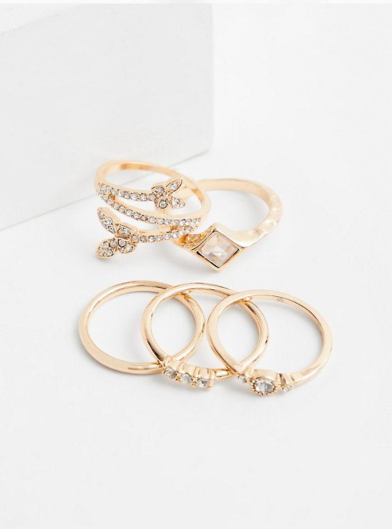 Gold-Tone Butterfly Ring Set - Set of 5, , hi-res