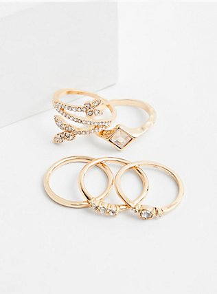 Gold-Tone Butterfly Ring Set - Set of 5, GOLD, hi-res