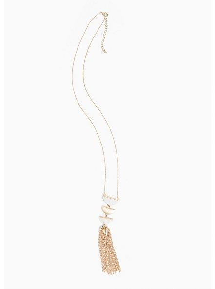 Plus Size Gold-Tone Half Moon Tassel Necklace, , alternate