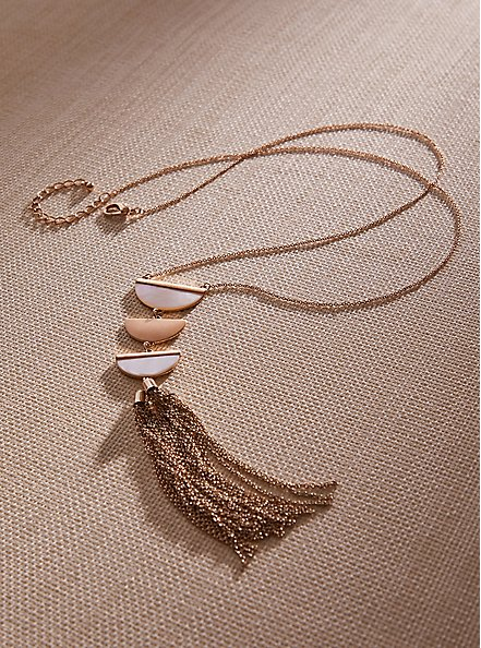 Plus Size Gold-Tone Half Moon Tassel Necklace, , hi-res