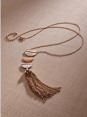 Gold-Tone Half Moon Tassel Necklace, , hi-res