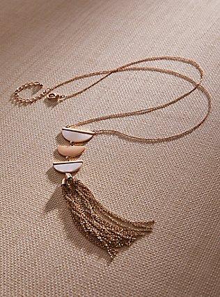 Gold-Tone Half Moon Tassel Necklace, , pdped