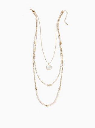 Gold-Tone Beaded Layered Necklace, , alternate