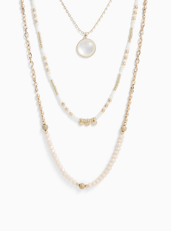 Plus Size Gold-Tone Beaded Layered Necklace, , hi-res