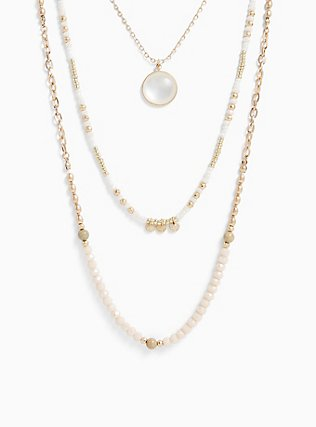 Gold-Tone Beaded Layered Necklace, , hi-res