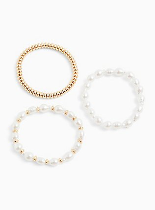 Gold-Tone & Faux Pearl Stretch Bracelet Set - Set of 3, BLUSH, alternate