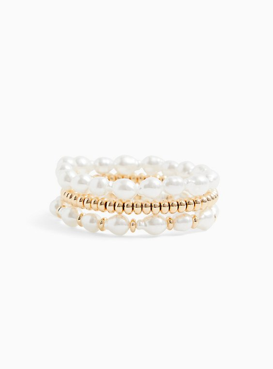 Gold-Tone & Faux Pearl Stretch Bracelet Set - Set of 3, , hi-res