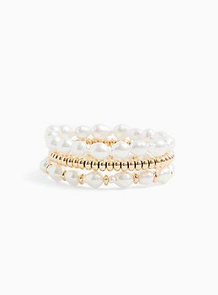 Gold-Tone & Faux Pearl Stretch Bracelet Set - Set of 3, BLUSH, hi-res