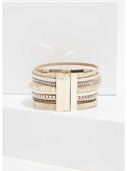 Gold-Tone Magnetic Bracelet , WHITE, alternate