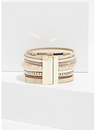 Gold-Tone Magnetic Bracelet , WHITE, alternate