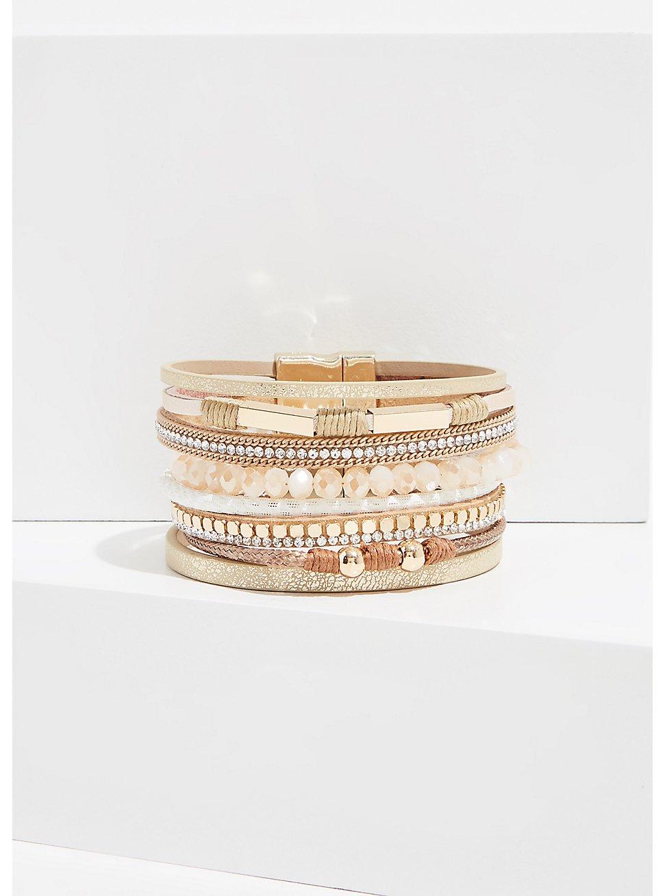 Plus Size Gold-Tone Magnetic Bracelet , WHITE, hi-res