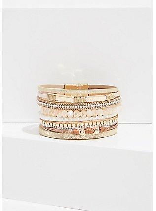 Gold-Tone Magnetic Bracelet , WHITE, hi-res