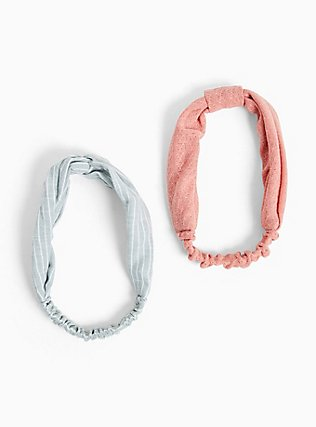 Plus Size Blue & White Stripe Twisted Headband Pack- Pack of 2, , hi-res