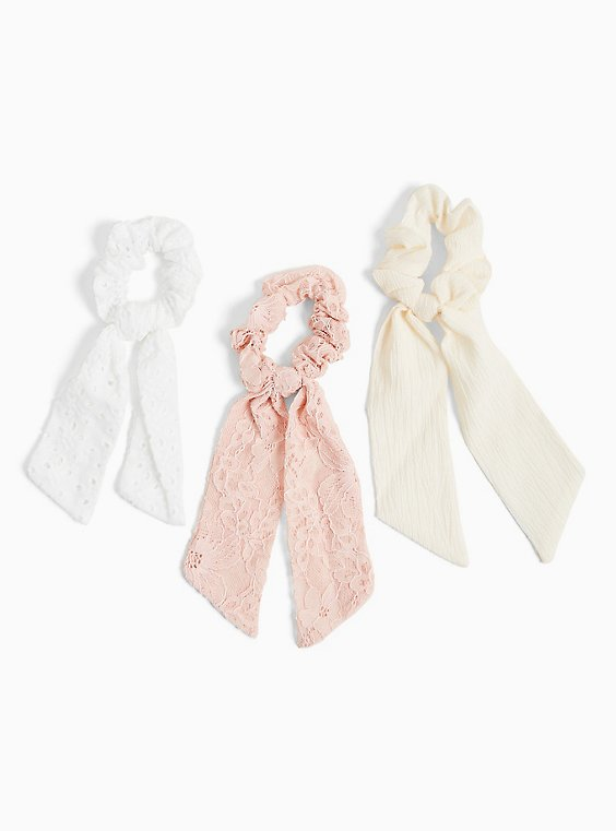 White Eyelet Scarf Hair Tie Pack - Pack of 3, , hi-res