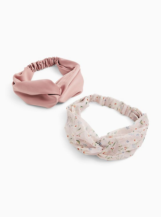 Dusty Pink Twist Headband Pack - Pack of 2, , hi-res