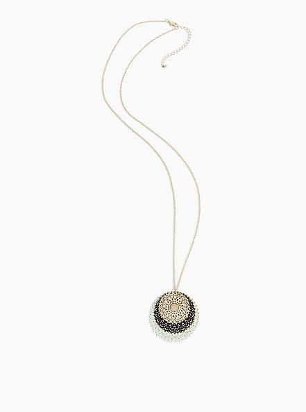 Plus Size Gold-Tone & Mint Blue Filigree Disc Necklace, , alternate