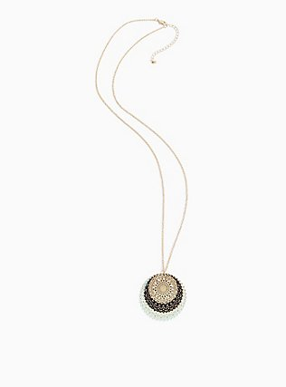 Gold-Tone & Mint Blue Filigree Disc Necklace, , alternate