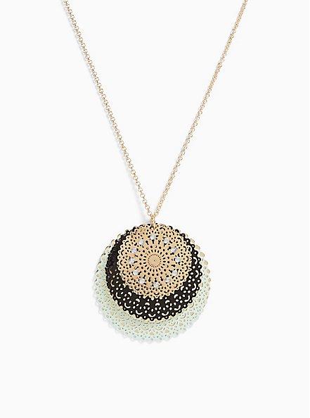 Plus Size Gold-Tone & Mint Blue Filigree Disc Necklace, , hi-res