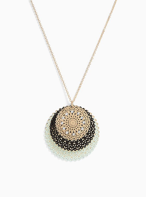 Gold-Tone & Mint Blue Filigree Disc Necklace, , hi-res