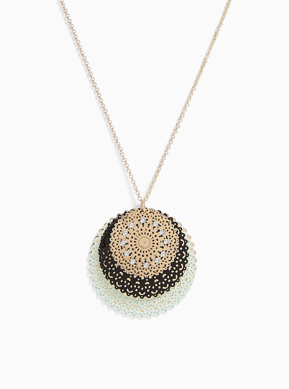 Gold-Tone & Mint Blue Filigree Disc Necklace, , hi-res