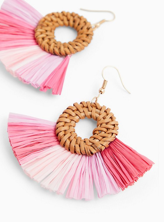 Plus Size Pink Ombre Fan Earrings, , hi-res