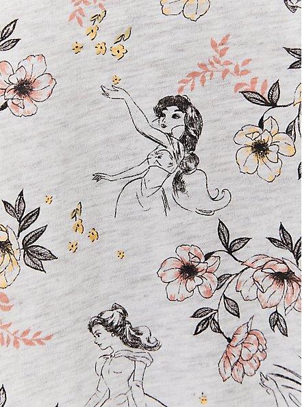 Disney Princess & Floral Tie Sleeve Grey Top, MULTI, alternate