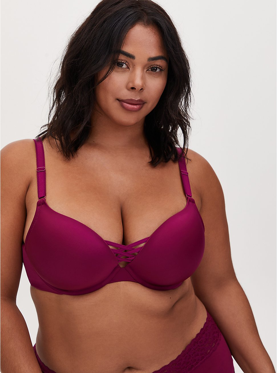 Berry Pink 360° Back Smoothing™ XO Push-Up Plunge Bra, NAVARRA, hi-res