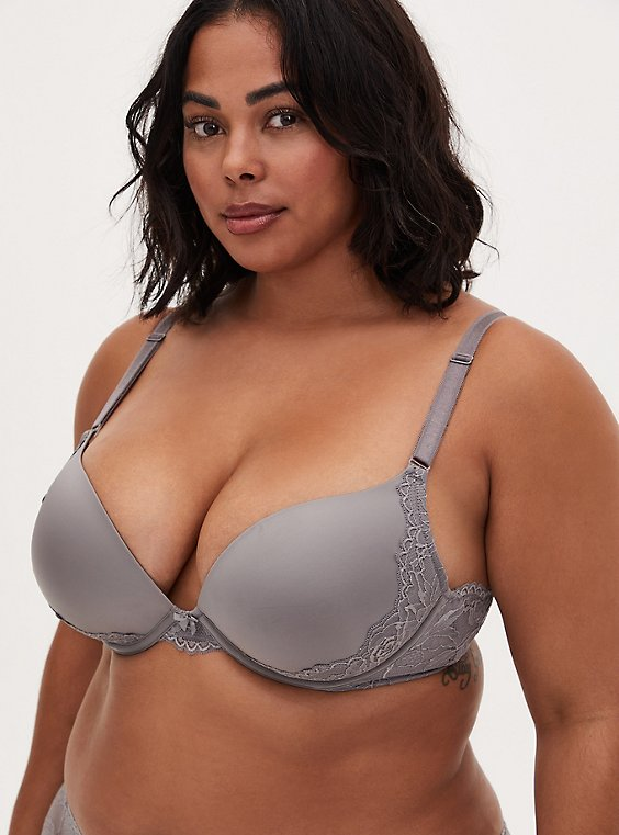 Silver Microfiber & Lace Strappy Back Push-Up Plunge Bra, SILVER FILAGREE, hi-res