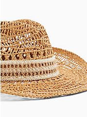 Tan Straw Banded Hat, NATURAL, alternate