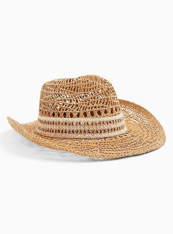 Tan Straw Banded Hat, NATURAL, ls